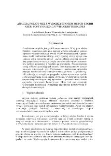 Analiza policy-mix z wykorzystaniem metod teorii gier ioptymalizacji wielokryterialnej