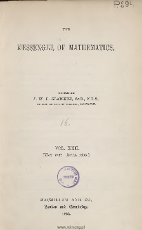 The Messenger of Mathematics T. XXII (1892-1893), Spis treści i dodatki