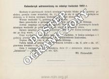 Kalendarzyk astronomiczny na miesiąc kwiecień 1912 r.