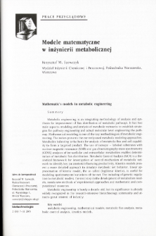 Mathematic's models in metabolic engineering