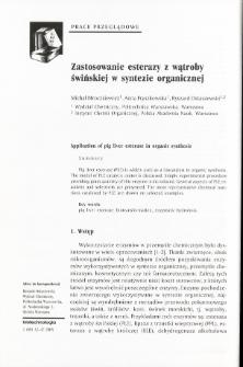 Zastosowanie esterazy z wątroby świńskiej w syntezie organicznej