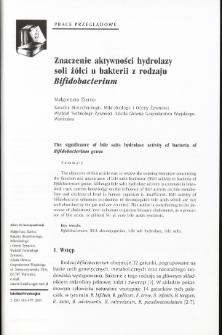 Znaczenie aktywności hydrolazy soli żółci u bakterii z rodzaju Bifidobacterium