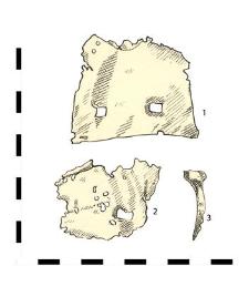 ferrules, iron sheet (1-2), nail, iron (3)