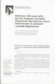 Sklonowane cDNA genów pPAG (porcine Pregnancy-Associated Glycoprotein) jako użyteczne matryce wykorzystywane do proteomiki i genomiki diagnostycznej