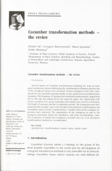 Cucumber transformation methods - the review