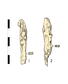 two nails, iron, fragments