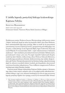 U źródła legendy poetyckiej biskupa krakowskiego Kajetana Sołtyka