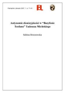 """Antynomie dionizyjskości w """"Bazilissie Teofanu"""" Tadeusza Micińskiego"""