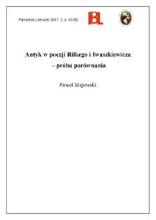 Antyk w poezji Rilkego i Iwaszkiewicza – próba porównania