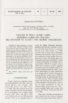 Ciliates in small humic lakes (Masurian Lakeland, Poland): relationship to acidity and trophic parameters
