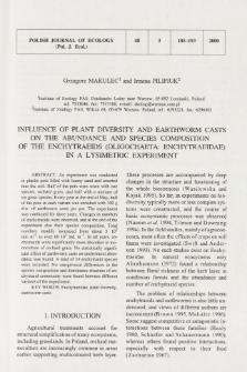 Influence of plant diversity and earthworm casts on the abundance and species composition of the enchytraeids (Oligochaeta: Enchytraeidae) in a lysimetric experiment