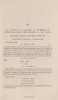 An account of a discovery in the theory of numbers relative to the equation Ax3+By3+Cz3=Dxyz
