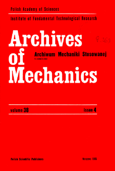 Archives of Mechanics Vol. 38 nr 4 (1986)