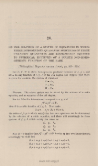 On the solution of a system of equations in which three homogeneous quadratic functions of three uknown quantities are respectively equated to numerical multiples of a fourth non-homogeneous function of the same