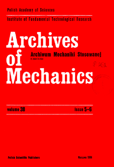 Archives of Mechanics Vol. 38 nr 5-6 (1986)