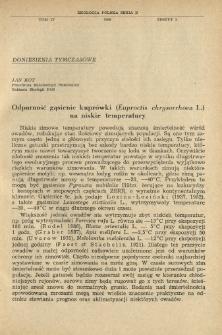 Odporność gąsienic kuprówki (Euproctis chrysorrhoea L.) na niskie temperatury