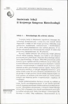 Omówienie Sekcji II Krajowego Kongresu Biotechnologii