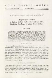 Morphological variation in Tatera indica indica (Hardwicke, 1807), inhabiting two types of indian desert habitats
