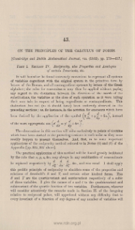 On the principles of the calculus of forms. Part I. Section IV. Reciprocity, also Properties and Analogies of certain Invariants, &c.