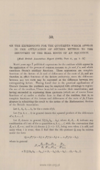 On the expression of the quotients which appear in the application of Sturm's method to the discovery of the real roots of an equation