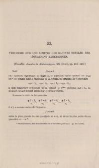 Théorème sur les limites des racines réelles des équations algébriques