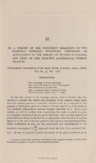 On a theory of the syzygetic relation of two rational integral functions, comprising an application to the theory of Sturm's functions, and that of the gratest algebraical common measure