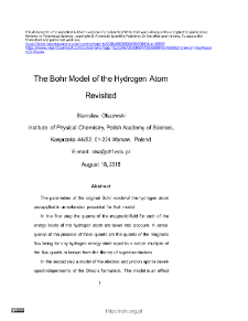 Bohr Model of the Hydrogen Atom Revisited