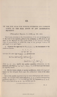 On the new rule for finding superior and inferior limits to the real roots of any algebraical equation