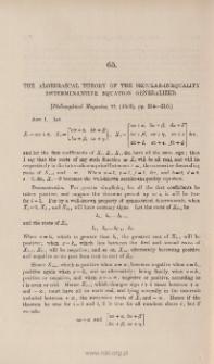 The algebraical theory of the secular inequality determinantive equation generalised