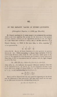 On the explicit values of Sturm's quotients