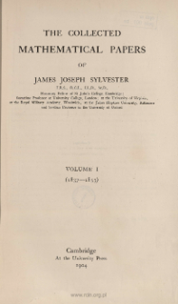 The collected mathematical papers of James Joseph Sylvester. Vol. 1, (1837-1853), Spis treści i dodatki