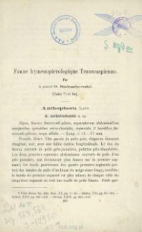 Faune Hyménoptèrologique Transcaspienne. [cz. 2]