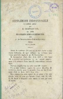 Supplément indispensable à l'article publié par M. Gerstaecker, en 1869, sur quelques genres d'Hyménoptères