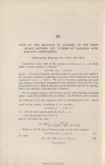 Note on the equation in numbers of the first degree between any number of variables with positive coefficients