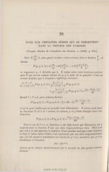 Note sur certaines séries qui se présentent dans la théorie des nombres