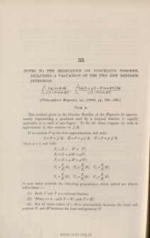 Notes to the meditation on Poncelet's theorem, including a valuation of two new definite integrals