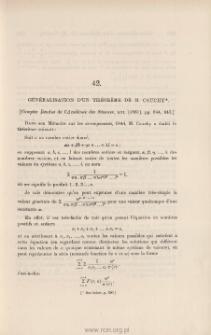 Généralisation d'un théorème de M. Cauchy