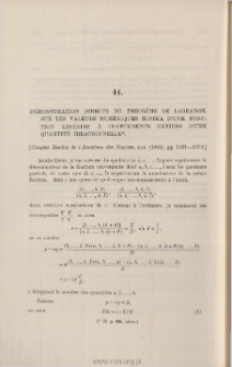Démonstration directe du théorème de Lagrange, sur les valeurs numériques minima d'une fonction linéaire à coefficients entiers d'une quantité irrationnelle