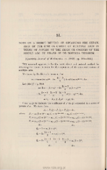 Note on a direct method of obtaining the expansion of the sine or cosine of multiple arcs in terms of powers of the sines or cosines of the simple arc by means of De Moivre's Theorem