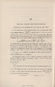 Note on certain definite integrals