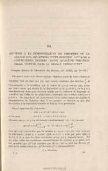 Addition à la démonstration du Théorème de Lagrange sur les minima d'une fonction linéaire à coefficients entiers d'une quantité irrationnelle