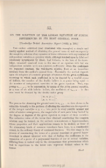 On the solution of the linear equation of finite differences in its most general form