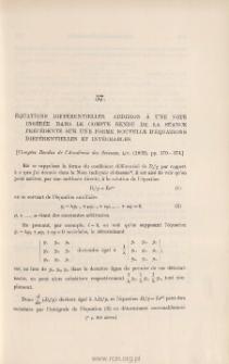 Addition à une Note sur une forme nouvelle d'équations différentielles et intégrables