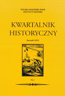 Kwartalnik Historyczny R. 117 nr 1 (2010), Strony tytułowe, Spis treści