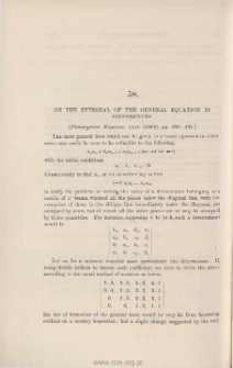On the integral of the general equation in differences