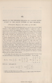 """Sequel to the Theorems relating to """"Canonic Roots"""""""