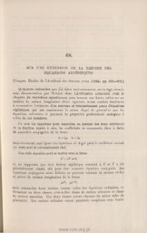 Sur une extension de la Théorie des équations algébriques