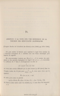 Addition à la Note sur une extension de la Théorie des Résultants algébriques