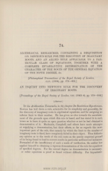 Algebraical researches, containing a disquisition on Newton's Rule for [...]