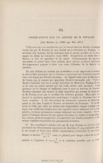 Observations sur un Article de M. Poulain